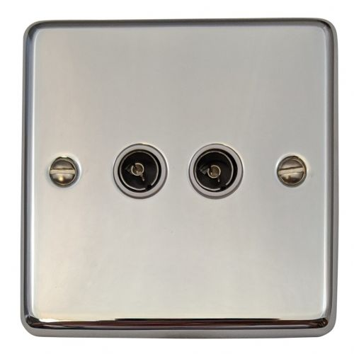 G&H CC36W Standard Plate Polished Chrome 2 Gang TV Coax Socket Point